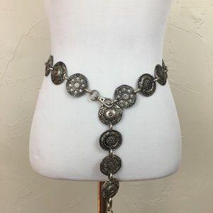 "Vintage Silver Antique Medallion Chain Belt 34"""